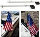2 Pcs 15.5 Stainless Steel Flag Pole Rail 78 - 1 Mount Holder Clamp Boat