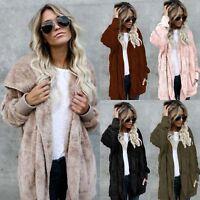 Winter Womens Fashion Warm Fur Cardigan Loose Outwear Long Coat Oversized Jacket