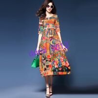 Women Fashion Real Silk Vintage Flowers Print Loose Short Sleeve Long Dresses