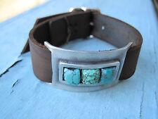 Supple December Stone Turquoise Leather Cuff Bracelet NEW BATCH!!