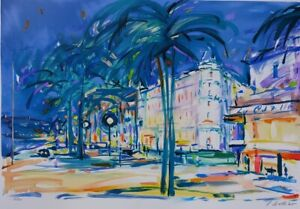 Pierre Bellier: Cannes La Croisette - Lithography Signed Pencil, 600ex