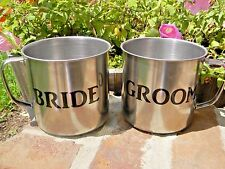 NEW CUSTOM BRIDE AND GROOM CUPS COUNTRY WESTERN THEME WEDDING