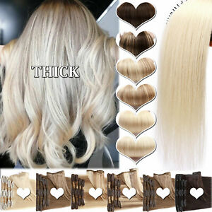 """8-24"""" Thick Double Weft Clip In Real Remy Human Hair Extensions Full Head Blonde"""