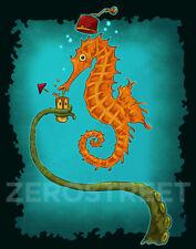 Seahorse Fez Tentacles Underwater Cocktail Polynesian Tiki Bar Decor Art Print