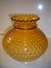 VINTAGE AMBER GLASS HOBNAIL LAMP SHADE