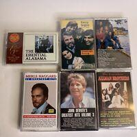Country Cassette Tape Lot Alabama Kenny Rogers Merle Haggard John Denver Allman