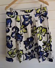 Jacqui E Women's White Black Blue & Green Floral Skirt - Size 12