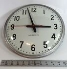 WORKING School Wall Clock National Time 12 inch TESTED Steampunk Vintage Convex