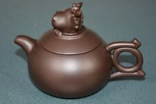 FINE CHINESE ZISHA PURPLE SAND TEAPOT FINELY CARVED NATURAL MATERIAL LK6132