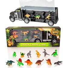 Dinosaur Truck Carry Case Transporter + 12 Toy Dino Figures Jurassic Playset Car