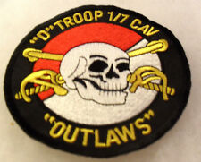 """90'S """"D TROOP 1ST OF 7TH CAV OUTLAWS"""" POCKET PATCH CUT EDGE 4"""" DIAMETER"""