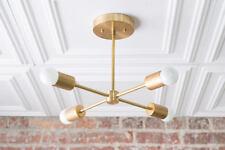 Gold Sputnik Light - Geometric Chandelier - Semi Flush - Modern Chandelier - Bra