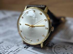 Gents Vintage Hamilton 2451 Sunburst Gold Plated Baton Dress Watch - Working