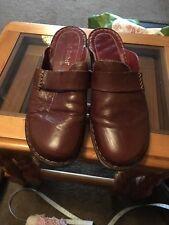 Josef Seibel Ladies Brown Leather Block heel Mules Clogs Sandals Size 7.5 EU 41