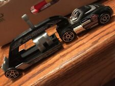 Hot Wheels Truckin Transporter Black Auto Recovery Hauler w/Red Car