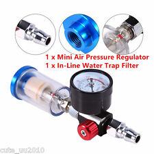 0-180Psi & In-Line Water Trap Filter Tool Spray Paint Gun Air Pressure Regulator