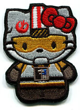 HELLO KITTY AS STAR WARS REBEL PILOT EMBROIDERED IRON ON PATCH FREE SHIP