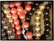 440 Glass Pearl Beads Assorted Lot 8mm Fall Colors Orange Brown Champagne