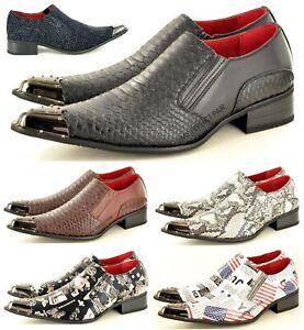 Mens Winkle Pickers Shoes Leather Lined Crocodile Skin Metal Toe UK Size 6-12