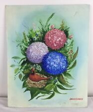 16 x 20 Oil Painting Cardinal Red Bird on Nest among Hydrangea Flowers signed