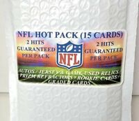 NFL HOT PACK Mystery Pack - 15 Cards - 2 Hits Guaranteed!! (Auto/Patch/Serial #)