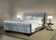 HURRY WHILE STOCKS LAST!! Luxury Crushed Velvet Silver Sleigh Bed - 160 x 200cm