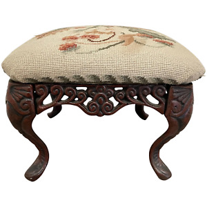 Decorative Victorian Style Cast Iron Comfy Floral Tapestry Footstool