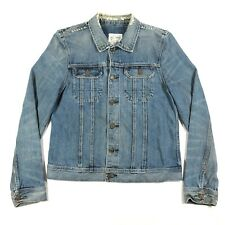 All Saints Mens L Lamara Rider Jacket Button Up Blue Denim Jean Jacket