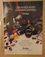 Vintage 1980's VIVITAR CAMERA Photography Original Print Ad Advertisement