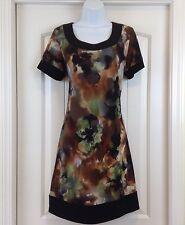 Ronnie Nicole Green Brown Black Scoop Neck Short Sleve Sz 10 Stretch Knit Dress
