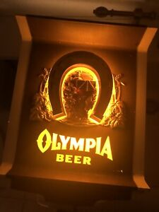 Olympia Beer Lighted Electric Wall Sign Advertising 1970's Horseshoe Good Luck