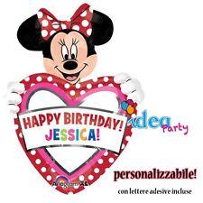 PALLONCINO MINNIE CUORE personalizzabile lettere adesive Addobbi Compleanno