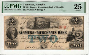 1854 $2 FARMERS & MERCHANTS BANK OF MEMPHIS TENNESSEE OBSOLETE NOTE PMG VF 25