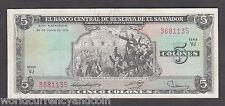 EL SALVADOR 5 COLON P117 1976 JOSE MATIAS ADDRESS UNC LATINO CURRENCY MONEY NOTE