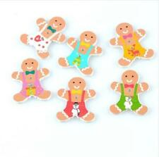 25X Christmas gingerbread Man buttons Wooden decoration sewing scrapbooking 30mm