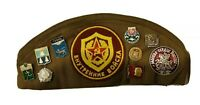 Russian Soviet Military Cap Army 17 Pins & 2 Patches Vintage Hat USSR BONCKA