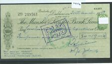 CHEQUE - CH1452 -  USED -1953 - MUNSTER & LEINSTER BANK, DUBLIN