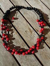 collar semillas rojo negro surfero colgante rock surf gargantilla sexy natural