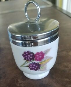 """Royal Worcester Egg Coddler in Evesham Gold with 3 Berries , 2-1/2""""  Very Good"""