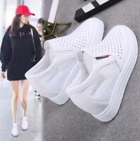 Women Mesh High Hidden Wedge Heels Sneakers Platform Casual Shoes Slip On Loafer
