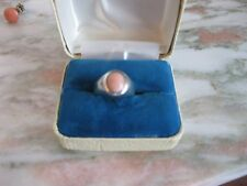 Midcentury Modern Arlene Artman Sterling Silver & Pink Coral Ring Size 5 1/2
