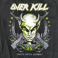 OverKill Men's Medium Work Shirt Licensed White Devil Armory Thrash Band Dickies