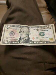 2013 $10 Ten  Dollar Bill Fancy Binary Serial Number 11333113 free shipping