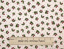 Mary Engelbreit Cherry Toss Red Cherries Kitchen Food White Cotton Fabric 1.1 Yd