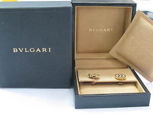 BVLGARI 18Kt Mother of Pearl Optical Stud Earrings Yellow Gold 13mm