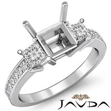 Diamond Engagement Promise Ring 3 Stone Princess Semi Mount 18k White Gold 0.8Ct