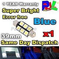 1x 39MM ERROR FREE CANBUS LED SMD FESTOON NUMBER PLATE / INTERIOR LIGHT - BLUE
