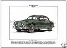 JAGUAR Mk1 1955-59 - Fine Art Print - A4 size picture of classic British saloon