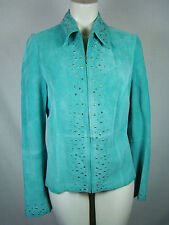 Karen Kane Teal Green Studded Suede Leather Jacket Women's M Medium