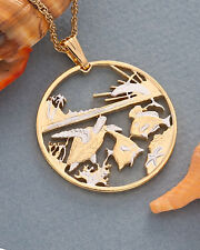 "Hawaii Sealife Coin Pendant and Necklace. Hand Cut. 1-1/2"" diameter ( # 770 )"